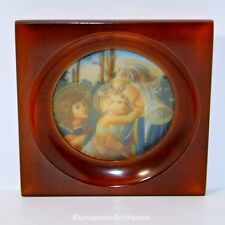 "Miniature Icon Of Madonna and Child Hand Painted in a Bakelite Frame 3.5"" x 3.5"""