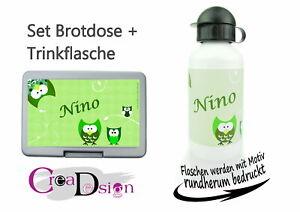 Brotdose Pausenbox Brotbox mit Namen Trinkflasche Alutrinkflasche  Eule