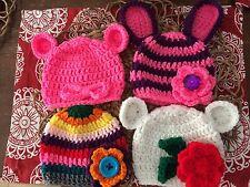 Crochet Beanie Hat Set 4 Bear Bunny Shower Gift newborn -3 month baby Photo Prop