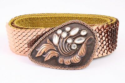 Dg150 Capannone Cintura In Vita Cintura Metallo Oro Rosa Strasse 70 - 95 Cm Vintage-mostra Il Titolo Originale