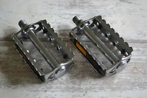 Vintage-Union-U41-K10491-Chrome-Steel-Pedals-Set-9-16-034-amp-TPP19-Reflectors