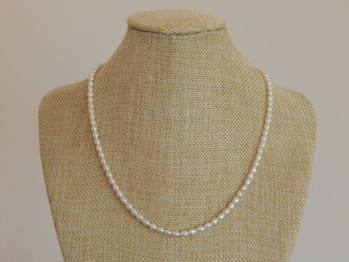 nice cultured mini 3-4mm white rice freshwater pearl necklace 16 inch