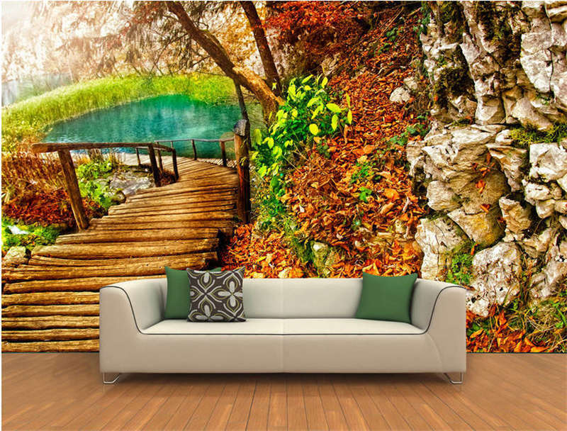 Wood Pathway Pond Full Wall Mural Photo Wallpaper Printing 3D Decor Kids Home