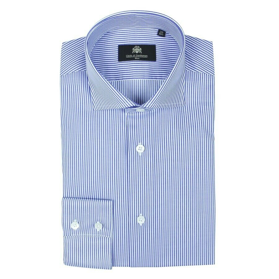 Circle of Gentlemen - Anthony Striped Shirt in Blau & Weiß - 15 38 -