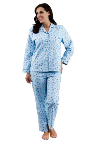 Sizes 10-22 Ladies British Design 100/% Cotton Winceyette Pyjamas Blue /& Pink
