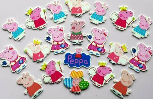 20 piezas mixtas Kawaii RESINA PEPPA PIG Cabujones Craft encantos Flatbacks arcos del pelo