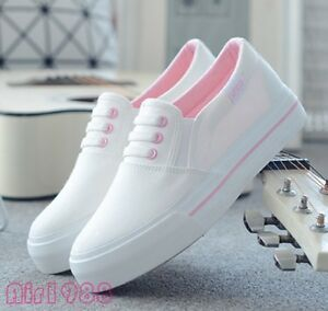 Details about Womens ladies White Casual Shoes Sneakers Slip On Flats  Canvas Fashion Shoes New