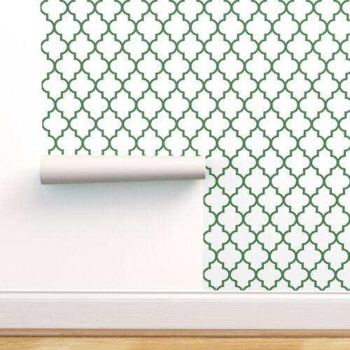 Wallpaper Roll Quatrefoil Ogee Modern Moroccan Ivory Green Lattice 24in x 27ft