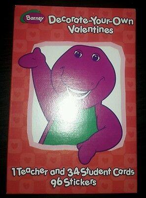 Lot of 12 BARNEY VALENTINES DAY CARDS NIB STICKERS DINOSAUR 2002 U DECORATE H97