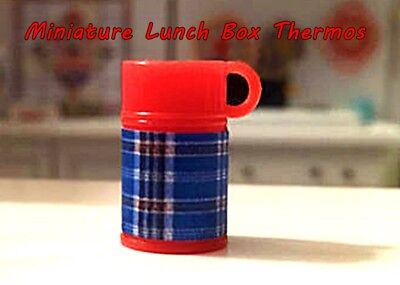 Miniature Dollhouse FAIRY GARDEN Accessories ~ TINY Red /& Blue Plaid Thermos NEW