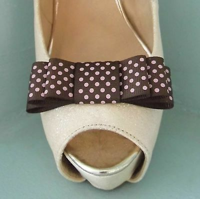 2 Clips Para Zapatos Arco Triple hecho a mano marrón con manchas de color rosa