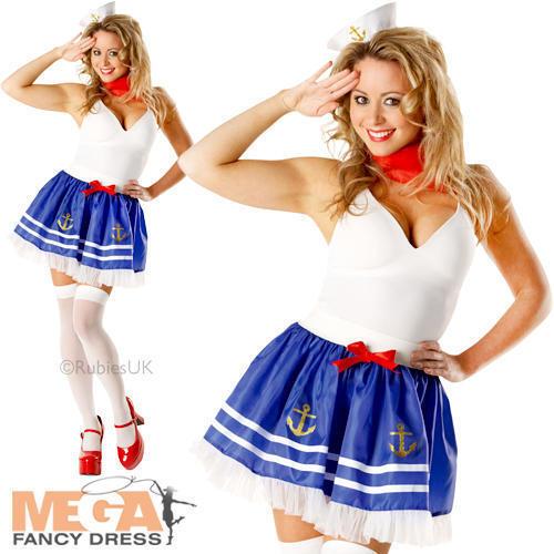 Sailor Tutu Set Ladies Fancy Dress Uniform Navy Womens Adult Costume Accessories
