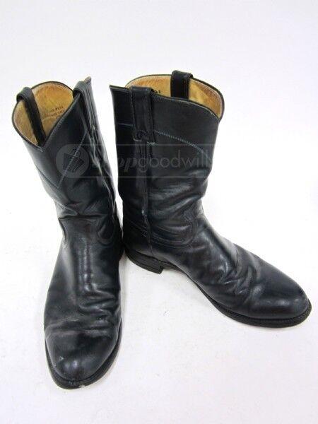 Justin 3024 Navy Leather Roper Men's Cowboy Boots Sz 9.5 D
