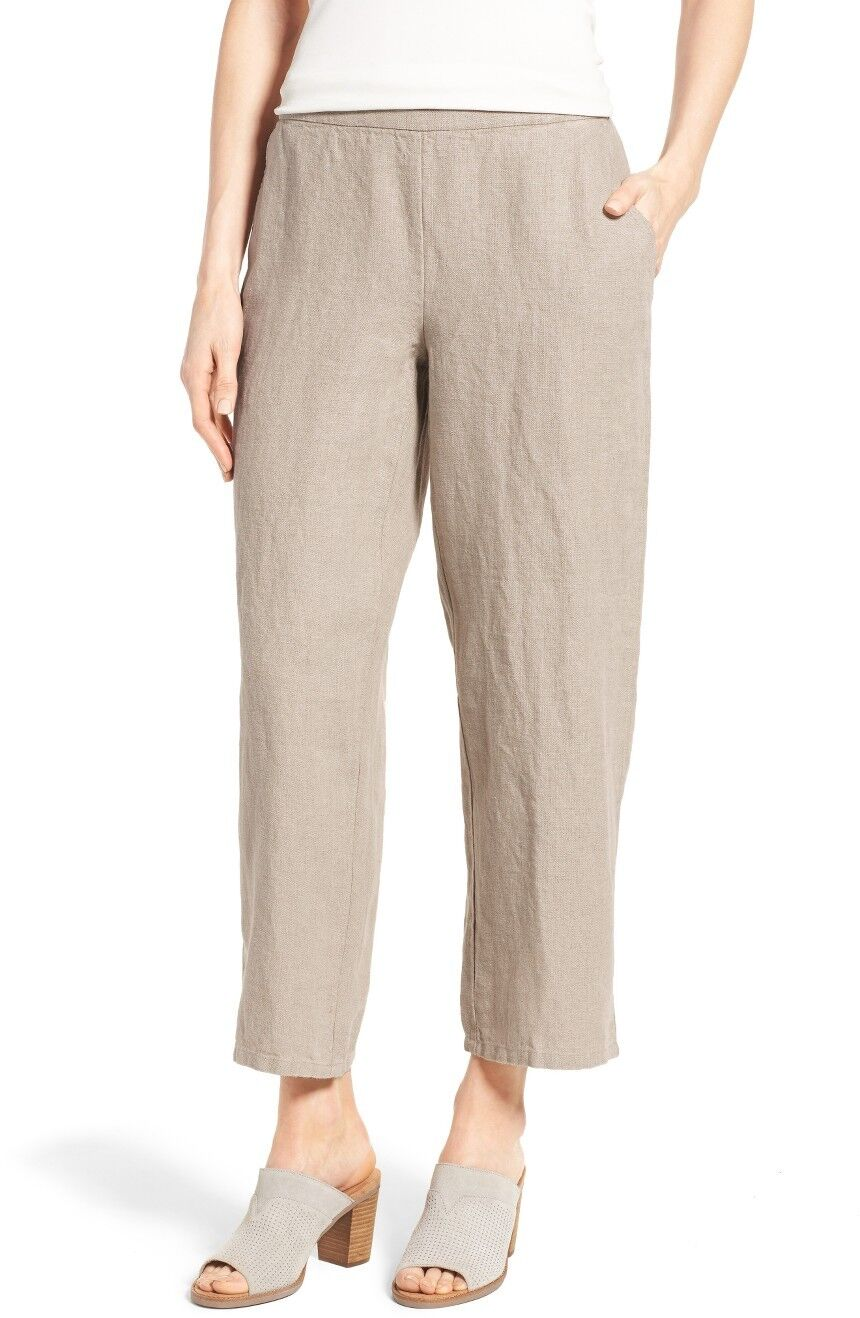 NWT EILEEN FISHER Driftwood Heavy Linen Wide Leg Trouser Pants Size 3X MSRP  198