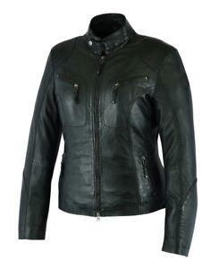 en veste d'agneau 100 Veste souple en dames cuir Real de cuir noir Awanstar tqECwC
