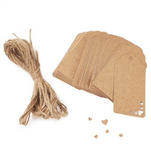 100xJewelry Display Kraft Paper Price Tag Label Hemp Rope BurlyWood Store Supply