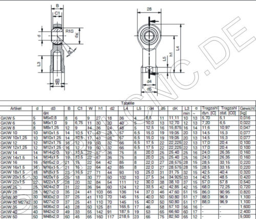 4x M6 Uniballgelenk Gelenkkopf Gelenklager Kugelgelenk M 6 innen Neu CB04 Top