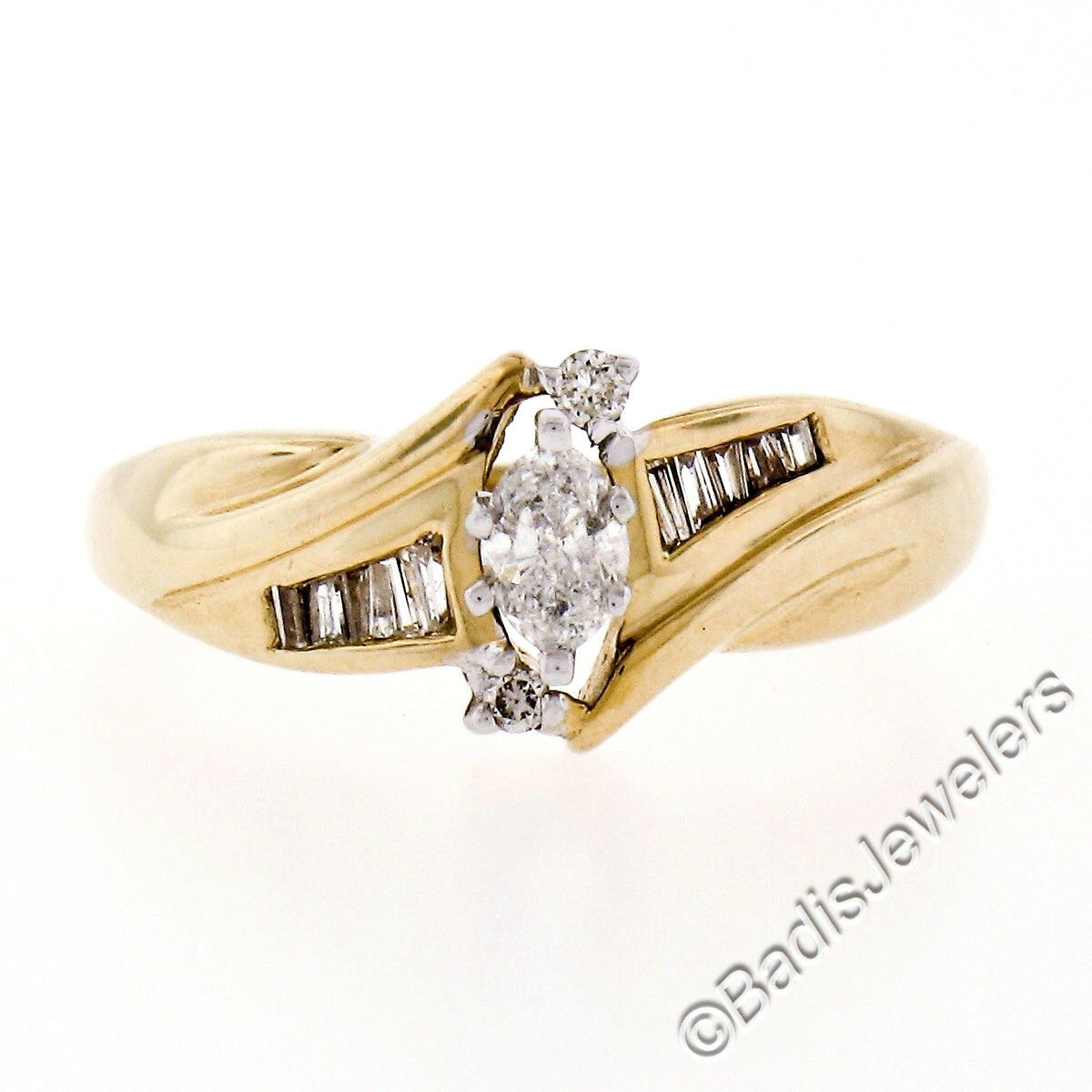 10k Yellow gold .44ctw Marquise Cut Diamond Solitaire Engagement Ring w  Accents
