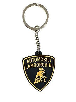 Lamborghini Squadra Corse Leather Keyring Black