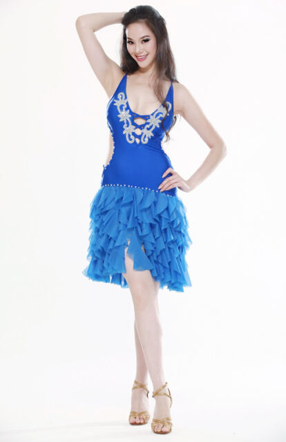 Belly Dance Costume Latin salsa tango Cha Cha Ballroom Flamenco dress 6 colors