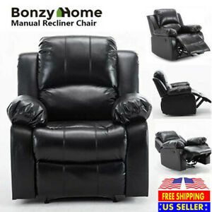 Recliner Chair PU Leather Modern Single Reclining Sofa Home Theater Seating Rest