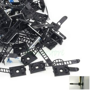 100x Car Cable Clamp Wire Clips Self-adhesive Tie Holder Rectangle Cord Mount H