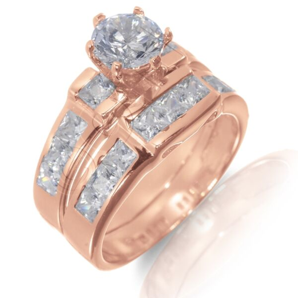 14k Rosen Gold Beschichtet Brillantschliff / Princess-schliff Verlobung