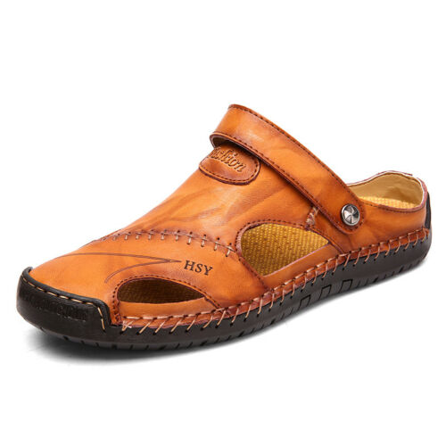 Mens Hand Stitching Sandals Outdoor Closed Toe Leather Casual Round Toe Slippers