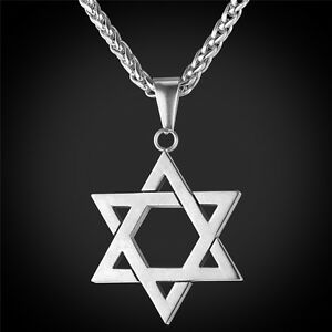 Star-of-David-Pendant-amp-Necklace-Chain-christian-Israel-Jewish-Silver