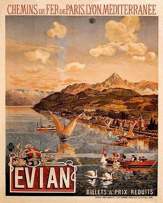 POSTER EVIAN LES BAINS LAKE GENEVA THERMAL SPA FRENCH VINTAGE REPRO FREE S//H