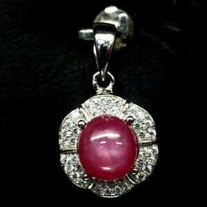 NATURAL-8mm-PINK-RUBY-amp-WHITE-CZ-PENDANT-925-SILVER-STERLING