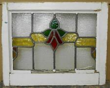 "OLD ENGLISH LEADED STAINED GLASS WINDOW Floral Sweep 20.25"" x 16"""