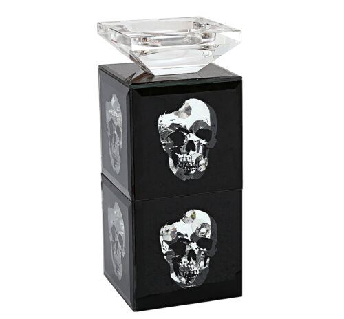 Mirrored Double Tier Black Crystal Jewel Gem Skull Bevel Candle Tea Light Pillar