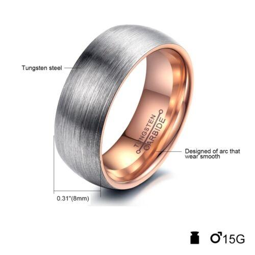 Herren Ring Tunsten Wolfram Ehering Trauring Verlobungsring 8mm breit Schmuck