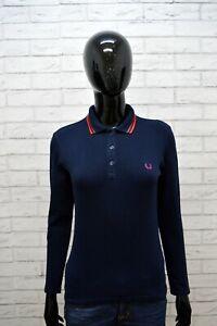 FRED-PERRY-Polo-Donna-M-S-Maglia-Manica-Lunga-Shirt-Woman-Jersey-Frau-Elastica