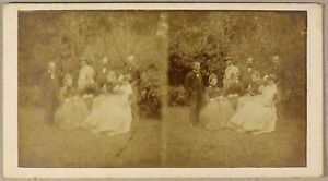 Grupo En Un Jardin, Foto Estéreo Aficionado PL55L2n2 Vintage Albúmina