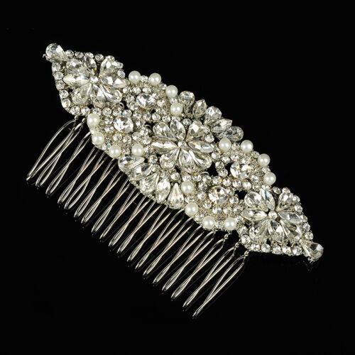 ART DECO CLEAR RHINESTONE PEARL DIANA BRIDAL HAIR COMB VINTAGE HAIR COMB