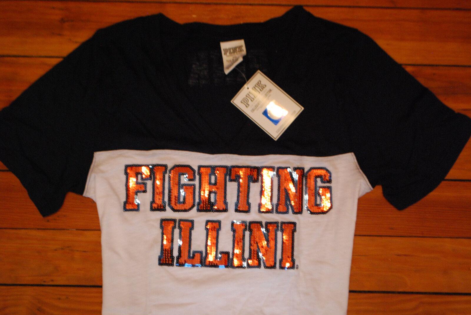 NEW Victoria's Secret VS Rosa Illinois  Fighting Illini  Bling T-Shirt (Large)