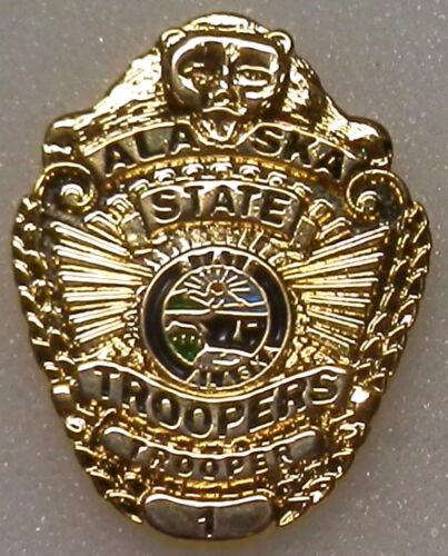 Alaska State Troopers AK police GOLD mini badge LAPEL PIN