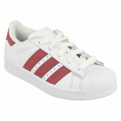 ADIDAS SUPERSTAR C GIRLS WHITE LACE UP CASUAL EVERYDAY ORTHOLITE TRAINERS SHOES | eBay