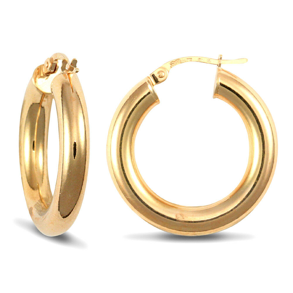 9ct Yellow gold Polished 4mm Hoop Earrings 23mm Pair or Single Earring