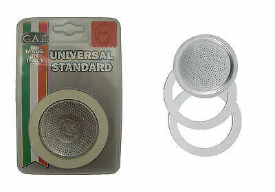 2 Rubber Seal/Rings+Filter -Replacement- Sizes 2,3,6,9 Cup Espresso coffee Maker