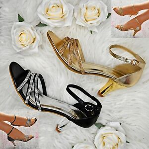 8d5c2354c04 Details about Women Mid Heel Strappy Sandals Sparkly Metallic Evening Dress  Wedding Shoes Size
