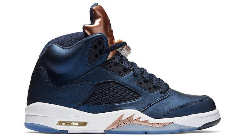 2016 Nike Air Jordan 5 Retro SZ 9 Metallic Bronze Obsidian Navy bluee 136027-416