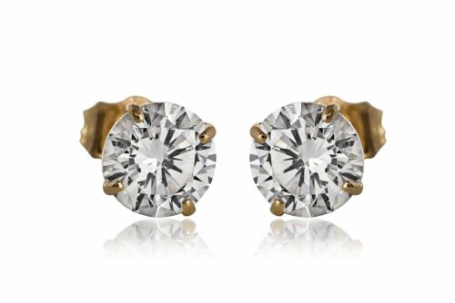 Created Diamond Round Brilliant Stud Earrings 14K Yellow Gold 2.00Ct