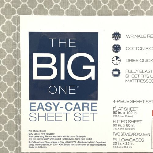 Gray Trellis NWT The Big One Queen Sheet Set