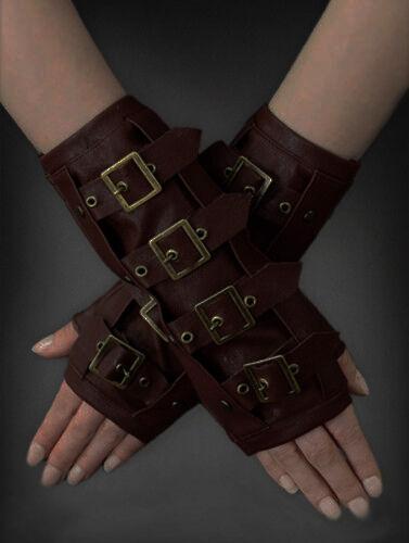 Restyle Kunst- Leder Armstulpen Schnallen Steampunk Gothic Punk Stulpen Gloves