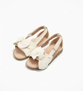 c3145f116 Zara Baby Girls Leather Sandals With Bows Shoes White Size 7.5 NWT ...