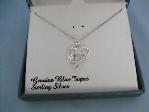 NIB-PURE-LUXURIES-GENUINE-BLUE-TOPAZ-STERLING-SILVER-NECKLACE-034-MOM-034-HEART-75
