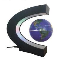 C-Shaped LED World Map Decoration Magnetic Levitation Floating Globe World Blue